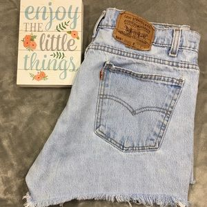 Vtg Levi's 505 Jean Shorts Cutoffs Orange Tab